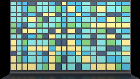 room accents: sfondo architettonico con parete vuota fatta di tavole di plastica lucida in colori alla moda