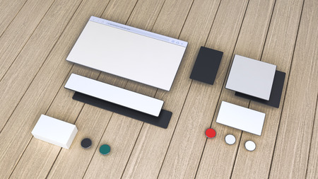 modern mobile devices with blank screen, mock up concept photo