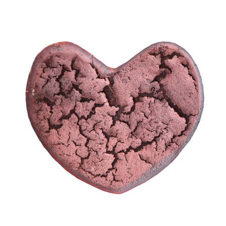sapless: dry cracked heart shape isolated on white