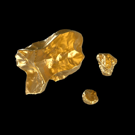few fine golden nuggets isolated on black