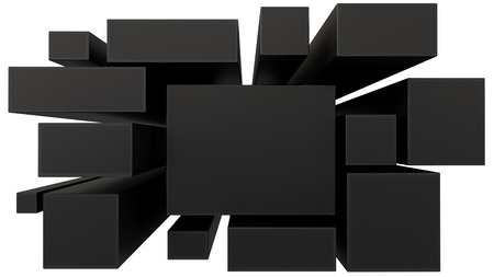tehnology: blank black blocks in perspective isolated on white