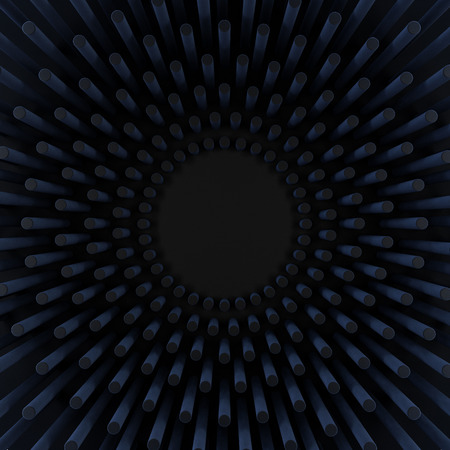 matted: abstract background with black matted cylinders arranged in radial rows Stock Photo