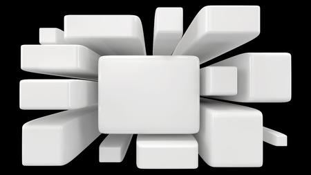 tehnology: glossy white blocks isolated on black
