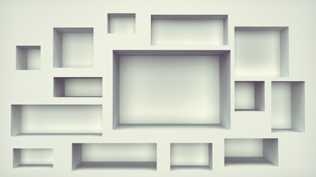 build in: clean white wall with rectangular build in shelves