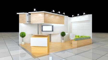 friso: dise�o moderno de 24 metros cuadrados de espacios de exposici�n con friso en blanco y mostrador de recepci�n