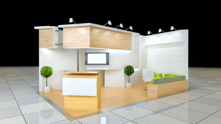 modern design 24 squared meters exhibition stand with blank frieze and reception counter Standard-Bild