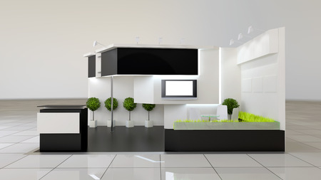 reception counter: modern design 24 squared meters exhibition stand with blank frieze and reception counter Stock Photo