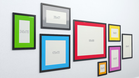 dimensions: few picture frames with blank paper sheets signed with size dimensions