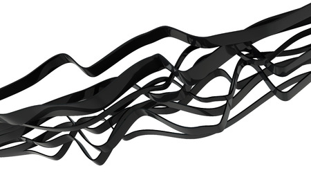 order chaos: black glossy plastic ribbons isolated on white