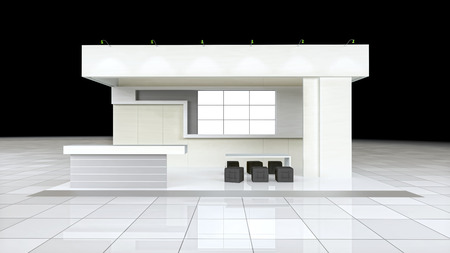 exhibitions: modern design exhibition stand with blank white frieze and reception counter