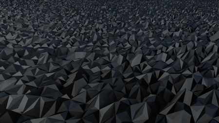 abstract digital landscape made of black triangular surface