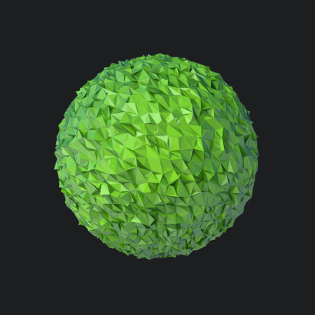 relievo: green glossy sphere with crumpled surface isolated on black