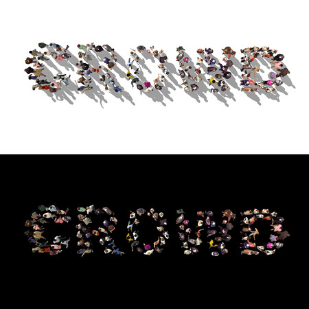 overcrowded: conceptual illustration with large group of people forming word Crowd