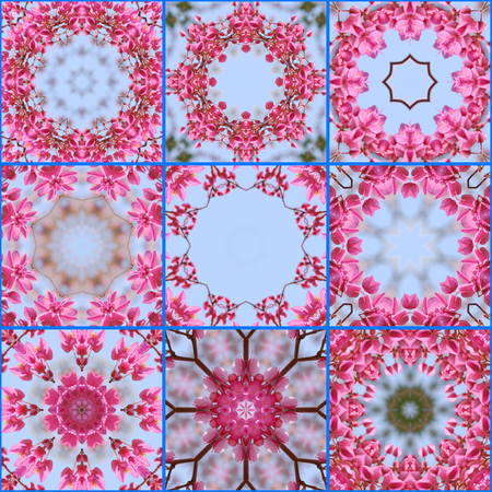 patrones de flores: colección de nueve adornado caleidoscopio de flores patrones de costura
