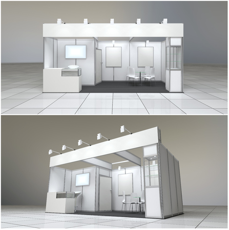 exhibition: modern exhibition stand 18sq.m. with blank frieze and blank posters Stock Photo