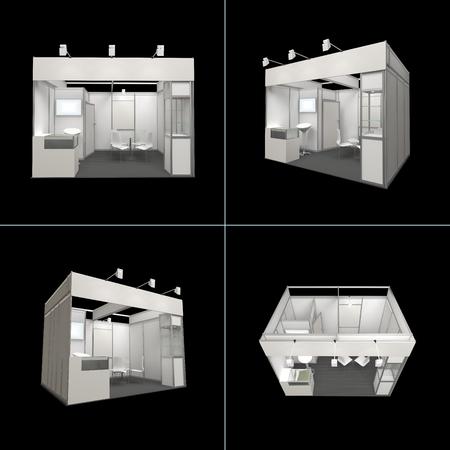 friso: Exposición soporte moderno 12sq.m. con friso en blanco y carteles en blanco aislado en negro