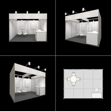 business exhibition: modern exhibition stand 12sq.m. with blank frieze and blank posters isolated on black
