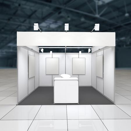 expositor: Exposici�n soporte moderno 12sq.m. con friso en blanco, mostrador de recepci�n y carteles en blanco