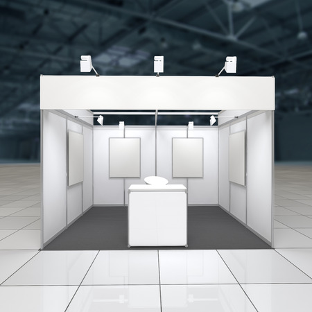 modern exhibition stand 12sq.m. with blank frieze, reception counter and blank posters