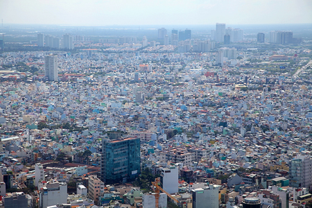 huge crowded city background with a lot of houses, top view