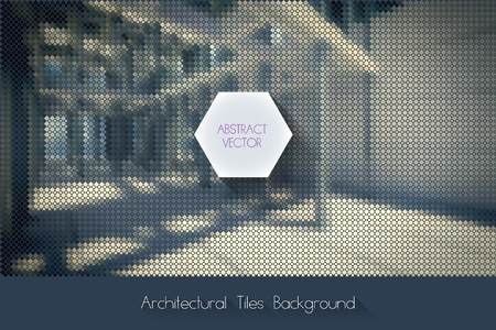 vector architectural background with modern building exterior made of small geometric particles