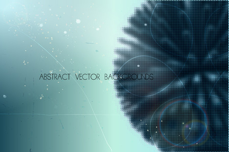 abstract vector background with spherical shape build of small geometric particles