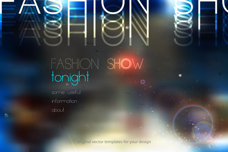 tonight: fashion show abstract vector background with blurred podium Illustration