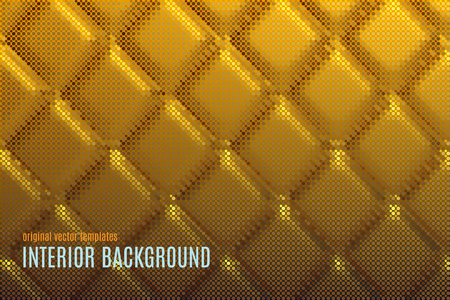 quilted fabric: vector interior background with golden soft wall texture