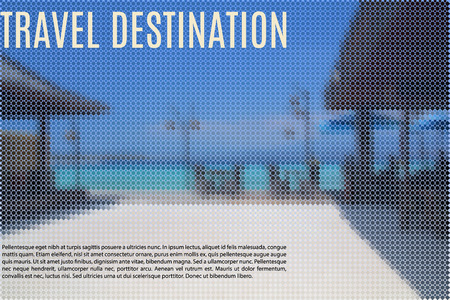 tropical beach panoramic: summer sea with beach front restaurant stylized as a geometric mosaic