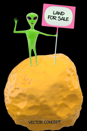 green lonely alien standing on a small asteroid holding a sign