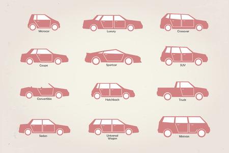 estilizadas del vector diferentes tipos de iconos de la carrocería de coche