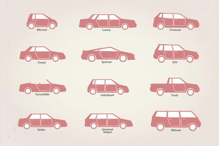 vector stylized different types of car body icons Illustration