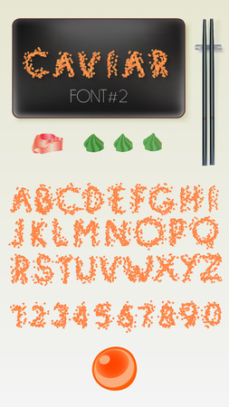 caviar: red caviar alphabet vector collection, good with sushi