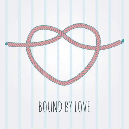 心臓ベクトル ビネットの形でビンテージ ロープ結び目 ベクターイラストレーション