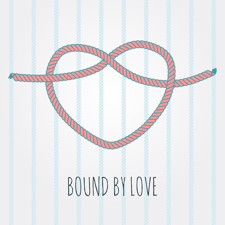tied up: vintage rope knot in shape of heart vector vignette