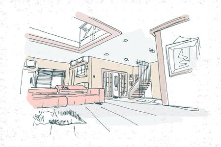 modern interior vector hand drawn preview sketch Vektoros illusztráció
