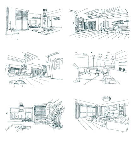 vector set of hand drawn interior sketches