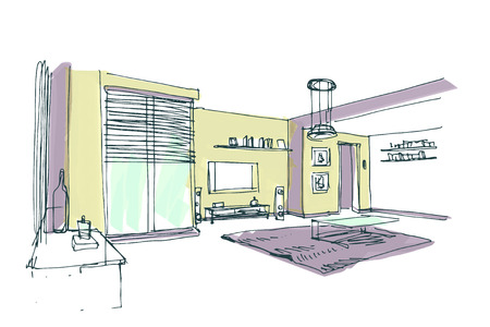 preview: modern interior vector hand drawn preview sketch