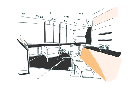 caffee: modern interior vector hand drawn preview sketch