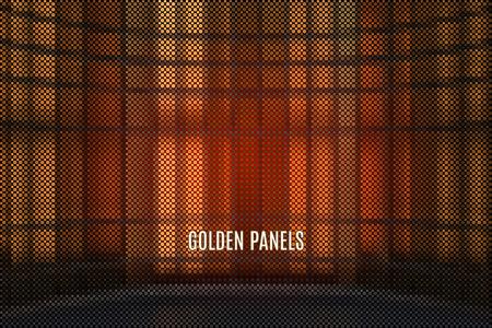 digital backdrop with golden metal vector space