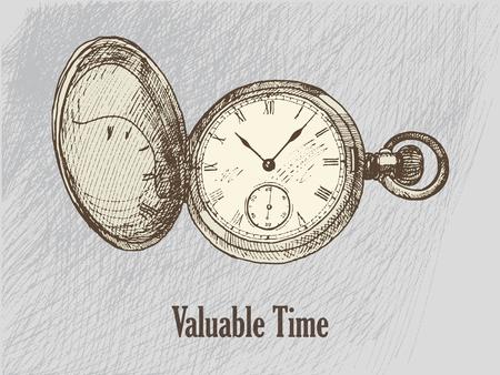 original vector vintage clock hand drawn illustration