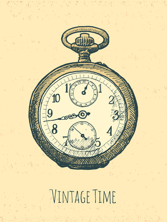vintage stylized retro stopwatch hand drawn illustration