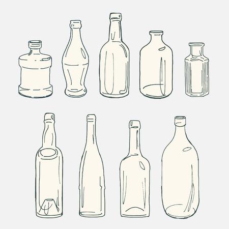 colección de botellas de vidrio de época boceto dibujado a mano