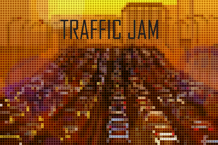 busy city: big city traffic jam stylized vector background made of tiny geometric particles
