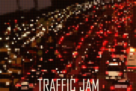 the traffic jam: big city traffic jam stylized vector background made of tiny geometric particles