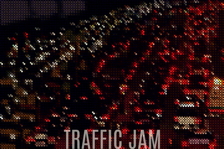 busy street: big city traffic jam stylized vector background made of tiny geometric particles