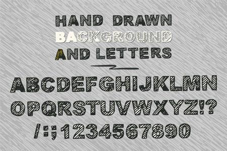 niños con pancarta: vector dibujado a mano las letras del alfabeto negrita recogida de la cosecha