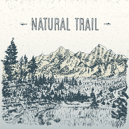 forrest: natural landscape with mountains vector hand drawn illustration