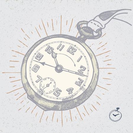 vintage clock: original vector vintage clock hand drawn illustration