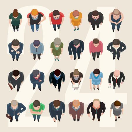 razas de personas: vector de pie la gente de negocios y, vista superior ocasional Vectores